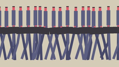 Group of abstract businessmen walking. 3 shots - wide, medium and close-up. Mid century style design.