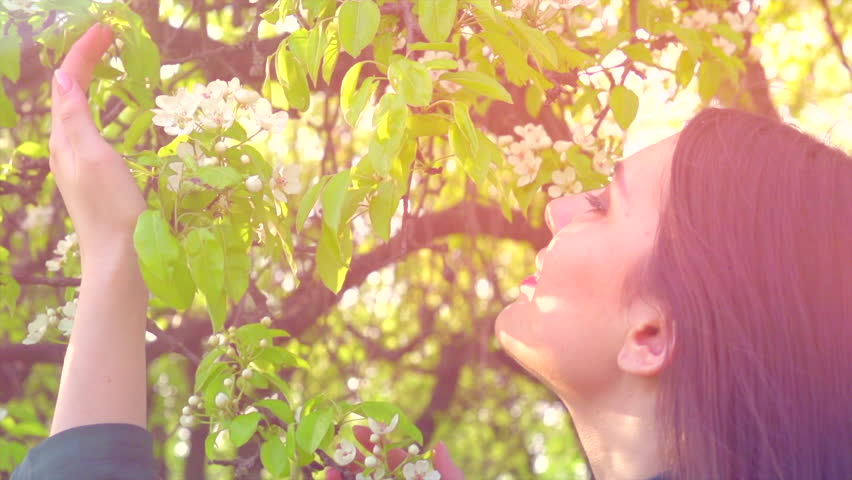 Beauty spring young woman enjoying nature in spring apple orchard, Happy Beautiful girl in Garden with blooming trees. Smiling Model girl smelling blossom flowers 4K UHD video 3840X2160