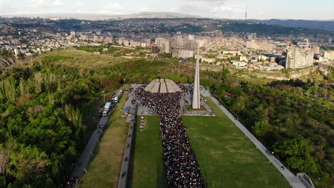 Aerial view of the people commemorating the Armenian genocide at Tsitsernakaberd Genocide Memorial site in Yerevan, Armenia