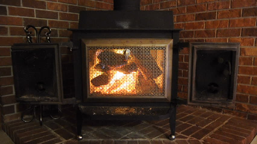 A Nice Comfortable Wood Stove Stock Footage Video (100% ...