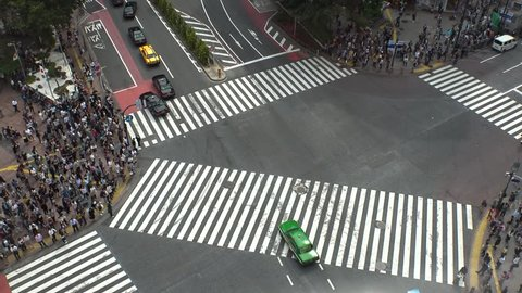 SHIBUYA,  TOKYO,  JAPAN - CIRCA MAY 2018 : Scenery of SHIBUYA around big scramble crossing in summer.