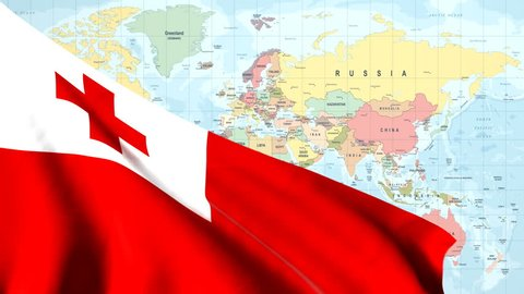 The waving flag of Tonga opens up the view to the position of Tonga on a colored world map