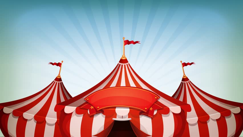 Big Top Circus Background Loop/ Animated loop of cartoon white and red big top circus tents, on blue sky background with blank banner and elegant ease and scale effect