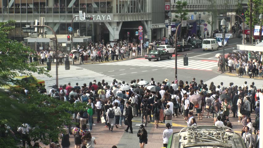 SHIBUYA,  TOKYO,  JAPAN - CIRCA MAY 2018 : Scenery of SHIBUYA around big scramble crossing in summer. | Shutterstock HD Video #1010644916
