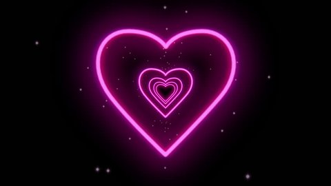 Neon heart tunnel with magic star surrounding
