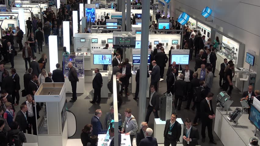 Hannover, Germany - April, 2018: Siemens stand on Messe fair in Hannover, Germany | Shutterstock HD Video #1010701016