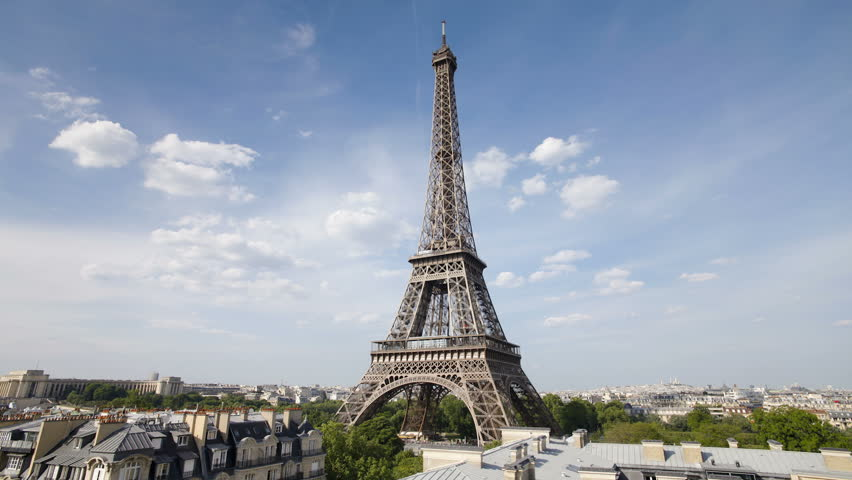 The world famous eiffel tower in natural light Paris France Europe   | Shutterstock HD Video #1010735216