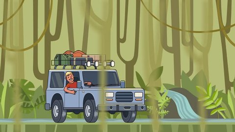 Animated car with luggage on the roof and smiling guy behind the wheel riding through the rainforest. Moving vehicle on jungle forest background and vines hanging on foreground. Flat animation.