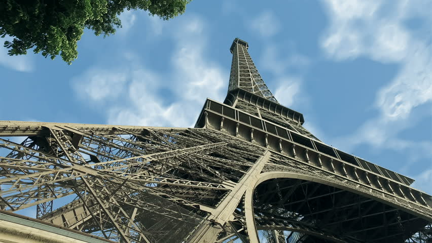 Eiffel tower hypertimelapse blue sky view of paris france, 4k time lapse  | Shutterstock HD Video #1010770316