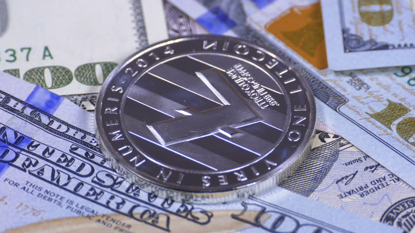 Silver Litecoin Coin, LTC and Bills of Dollars are Rotating. Crypto Currency Close-up. Macro. Dollar banknotes of various denominations on which lies the cryptocurrency. | Shutterstock HD Video #1010785136