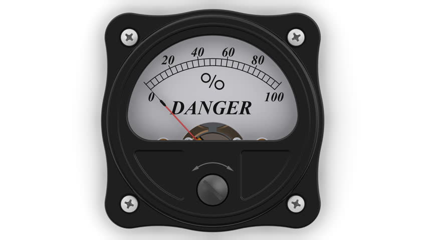 The danger indicator in action. The analog indicator is showing the level of DANGER in percentages. Footage video | Shutterstock HD Video #1010786966
