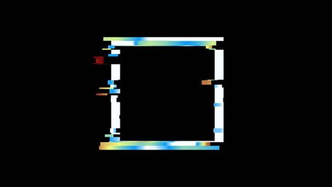 Glitched square frame design motion graphic. Distorted glitch style modern background. Available in 4K FullHD video render footage