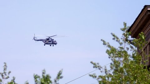 helicopter air parade on victory day