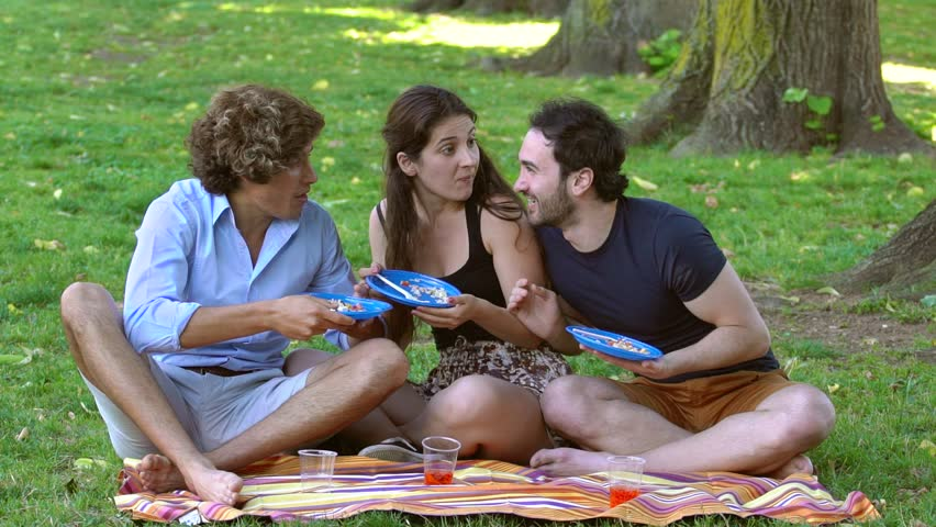 summer Pic nic in the park :Friends Eating sitting on the lawn-slow motion