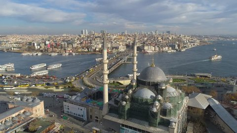 The Blue Mosque (Sultanahmet) in Istanbul, Turkie. Aerial drone view Shot. Sunny day, blue sky, sunset. European part of the city, downtown