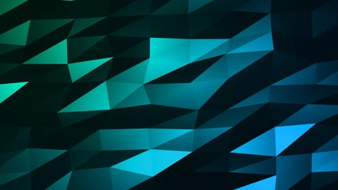 Loopable Abstract Green Blue Low Poly 3D surface as CG background. Soft Polygonal Geometric Low Poly motion background of shifting Red Orange polygons. 4K Fullhd seamless loop background render V83