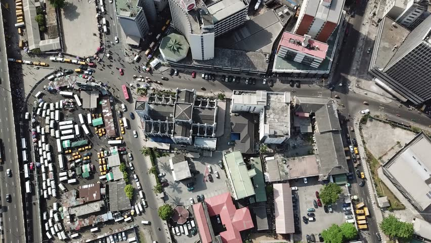 Rooftop view of Lagos Island commercial center Nigeria | Shutterstock HD Video #1010877956
