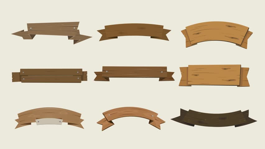 Cartoon Animated Wood Banners And Ribbons/ Animation of cartoon wooden award ribbons and texas ranch banners, for agriculture, farm seal and certificates, including separated presentation of each