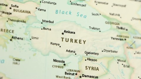 Turkey on a political map of the world. Video defocuses showing and hiding the map.