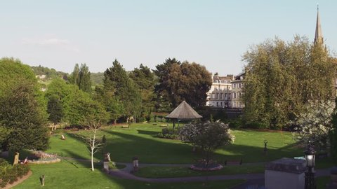 BATH - May 5: Parade Gardens Park & Georgian Architecture of Bath on May 5th 2018 in Bath England.