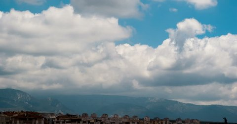 Clouds over the city and the mountains. Izmir Turkey.