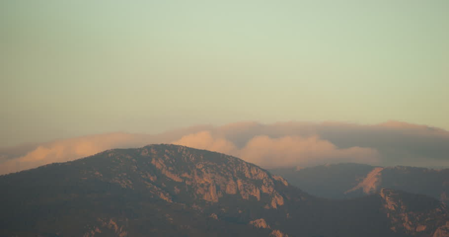 Clouds over the mountains. Izmir Turkey.