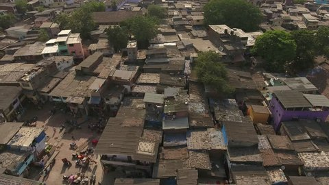 Aerial View of Dharavi, Largest slum in Mumbai.