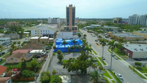 Aerial video building tented for pest fumigation 4k 24p