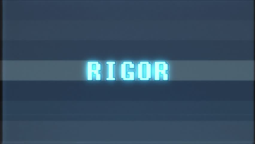 Retro videogame RIGOR word text computer tv glitch interference noise screen animation seamless loop New quality universal vintage motion dynamic animated background colorful joyful video  | Shutterstock HD Video #1011011366