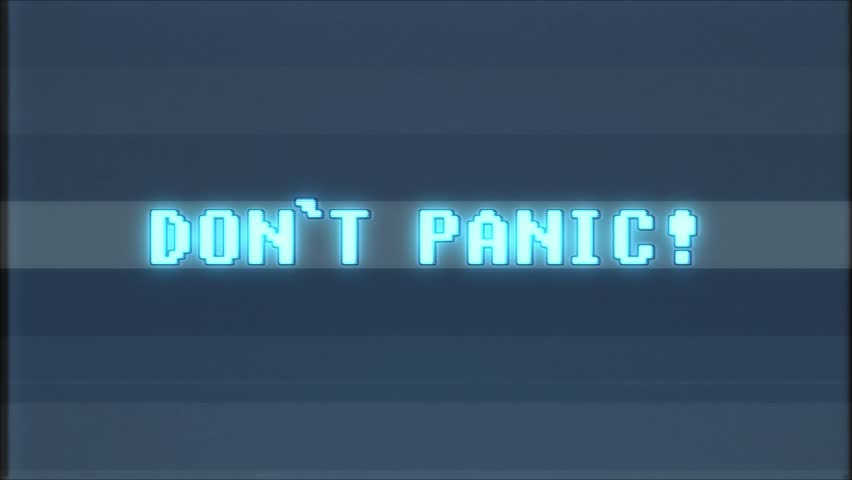 Retro videogame DONT PANIC word text computer tv glitch interference noise screen animation seamless loop New quality universal vintage motion dynamic animated background colorful joyful video    Shutterstock HD Video #1011011786