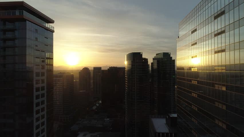 Downtown Bellevue Washington State Aerial Sunrise Drone Shot