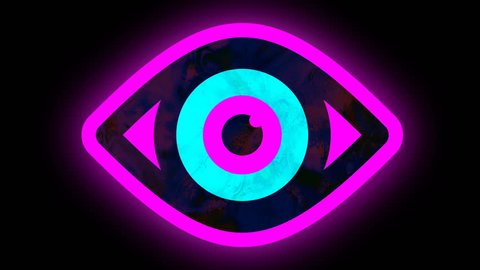 Shimmering vibrating open eye symbol, neon effect animation seamless loop 4K. Universal close up vintage dynamic animated colorful joyful cool video footage. Black Pink Blue colors