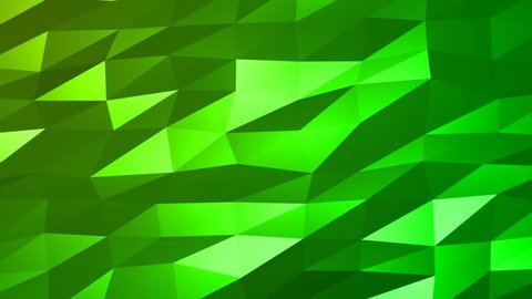 Loopable Abstract Green Low Poly 3D surface as CG background. Soft Polygonal Geometric Low Poly motion background of shifting Green polygons. 4K Fullhd seamless loop background render V84