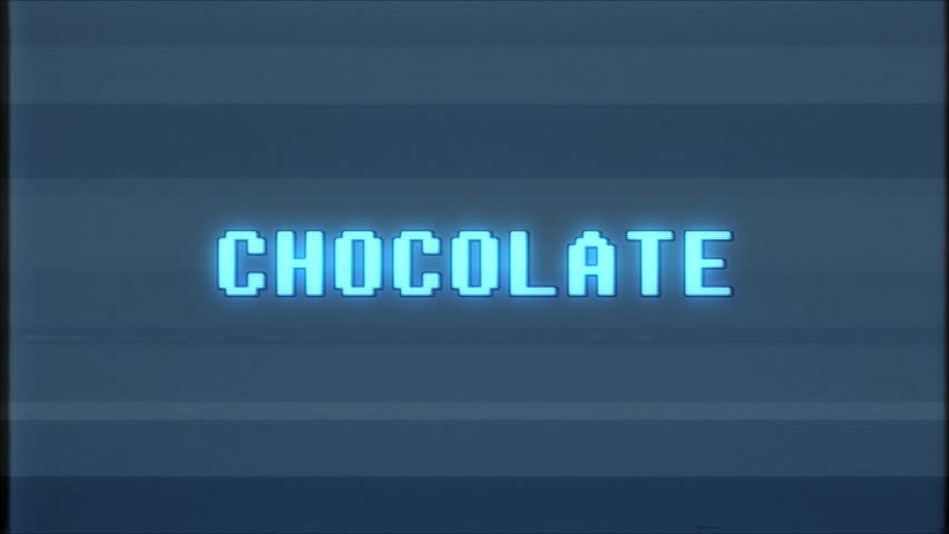 Retro videogame CHOCOLATE word text computer tv glitch interference noise screen animation seamless loop New quality universal vintage motion dynamic animated background colorful joyful video | Shutterstock HD Video #1011083846