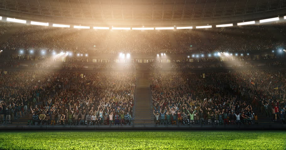 Professional sport stadium with gates and crowd. Stadium made in 3D. | Shutterstock HD Video #1011169916