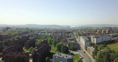 Aerial view over Oslo, Norway on a beautiful summer day.