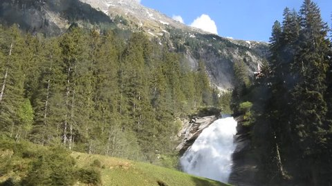 Krimml Waterfalls, the highest waterfall in Austria.  Krimmler Ache river near the village of Krimml in the High Tauern National Park in Salzburg state. European Alps landscape with forest.