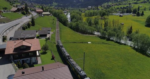 Train arrival in Grindelwald - Aerial 4K