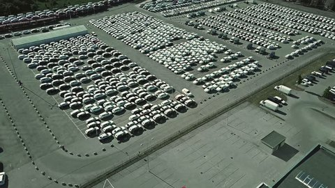 Aerial shot of a car manufacturer parking