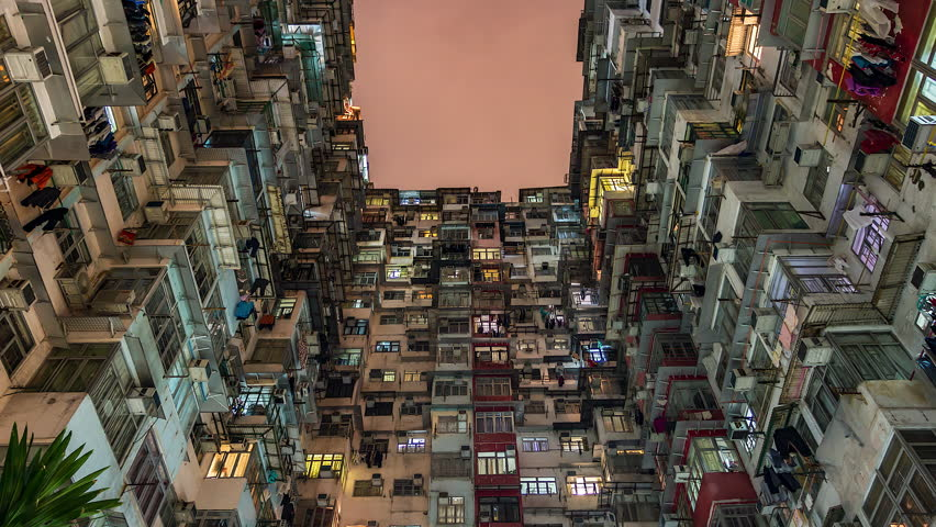 4k. Time lapse of old apartment with Moving Cloud in Hong Kong of China | Shutterstock HD Video #1011313976