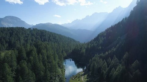 moving forward to pine woods forest lake and mountain valley with sun flare in summer day.Europe Italy Alps outdoor green nature scape mountains wild aerial establisher.4k drone establishing shot