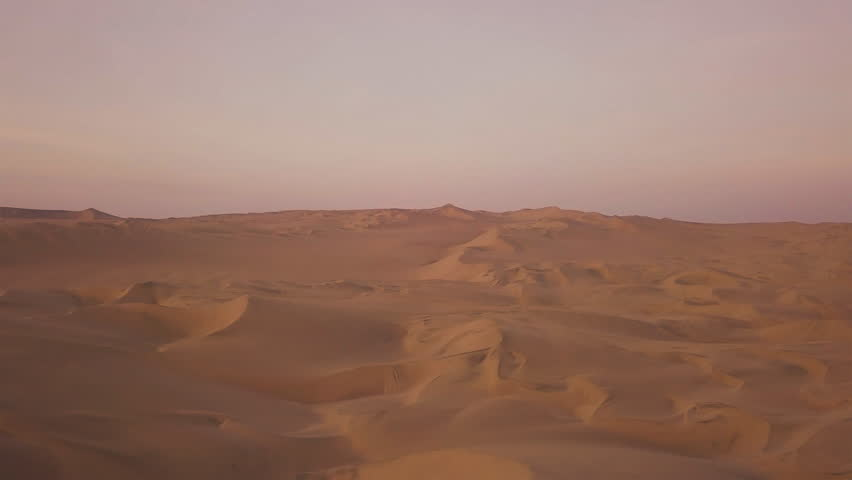 Drone Aerial of Sand Dunes Desert Oasis at Sunrise #1011340736
