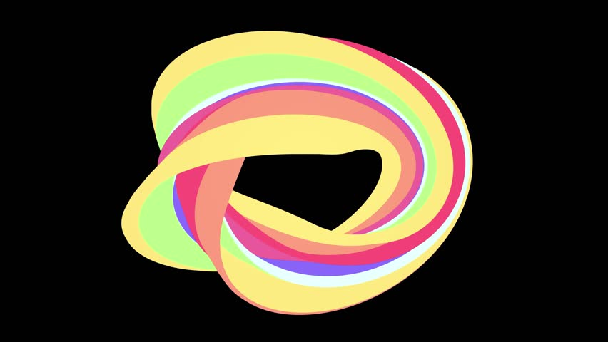 Soft colors flat 3D curved rainbow donut candy seamless loop abstract shape animation background new quality universal motion dynamic animated colorful joyful video footage