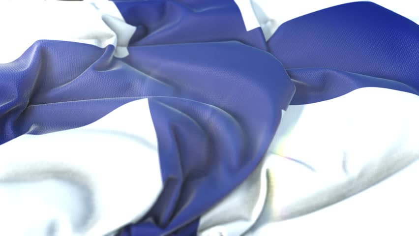 Finland flag.Flag of Finland Beautiful 3d animation of Finland flag in loop mode.Finland flag animation