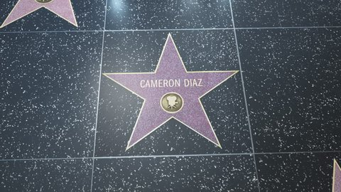Hollywood, CA, USA - 05/15/18: Hollywood Walk of Fame Star with Cameron Diaz' name. Wide and Close-up Detail. For editorial purposes only. Commercial use requires approval.