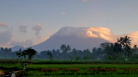 Mount Merapi in the morning. A few hours after the phreatic eruption of May 25, 2018.