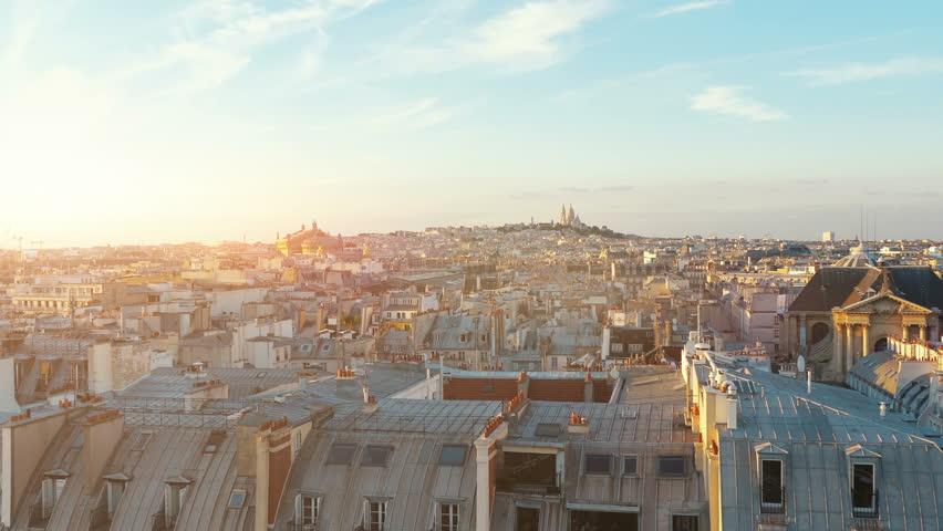 Aerial view on Sacre Coeur in Paris in 4k slow motion 120fps