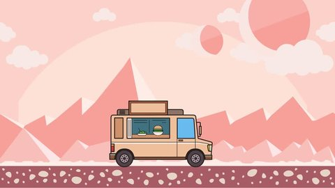 Animated food truck riding through alien planet desert. Moving vehicle on extraterrestrial landscape background. Flat animation