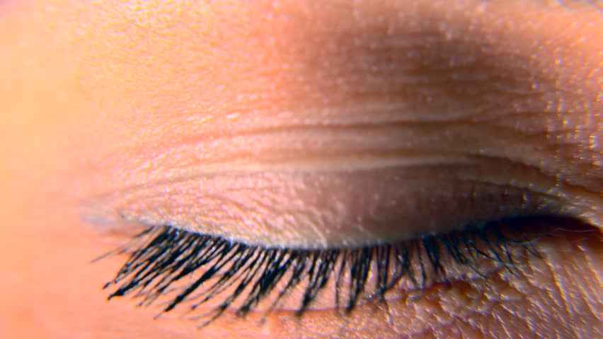 Close-up. Macro Blue Female Human Eye. Pupil Cornea Iris Eyeball Eyelashes. Blink Open Closed. 30p Slow motion 1/2 Real Time Speed 60p | Shutterstock HD Video #1011459746