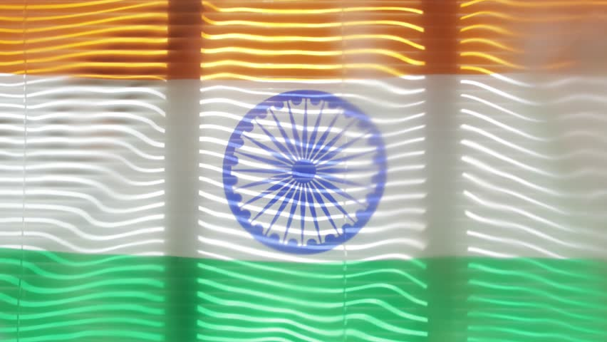 Hanging flag of India at wide jalousie window | Shutterstock HD Video #1011468776